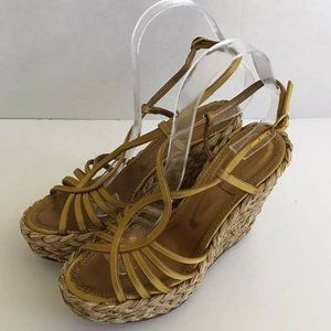 YSL Yves Saint Laurent Gold Leather Wedge Sandals